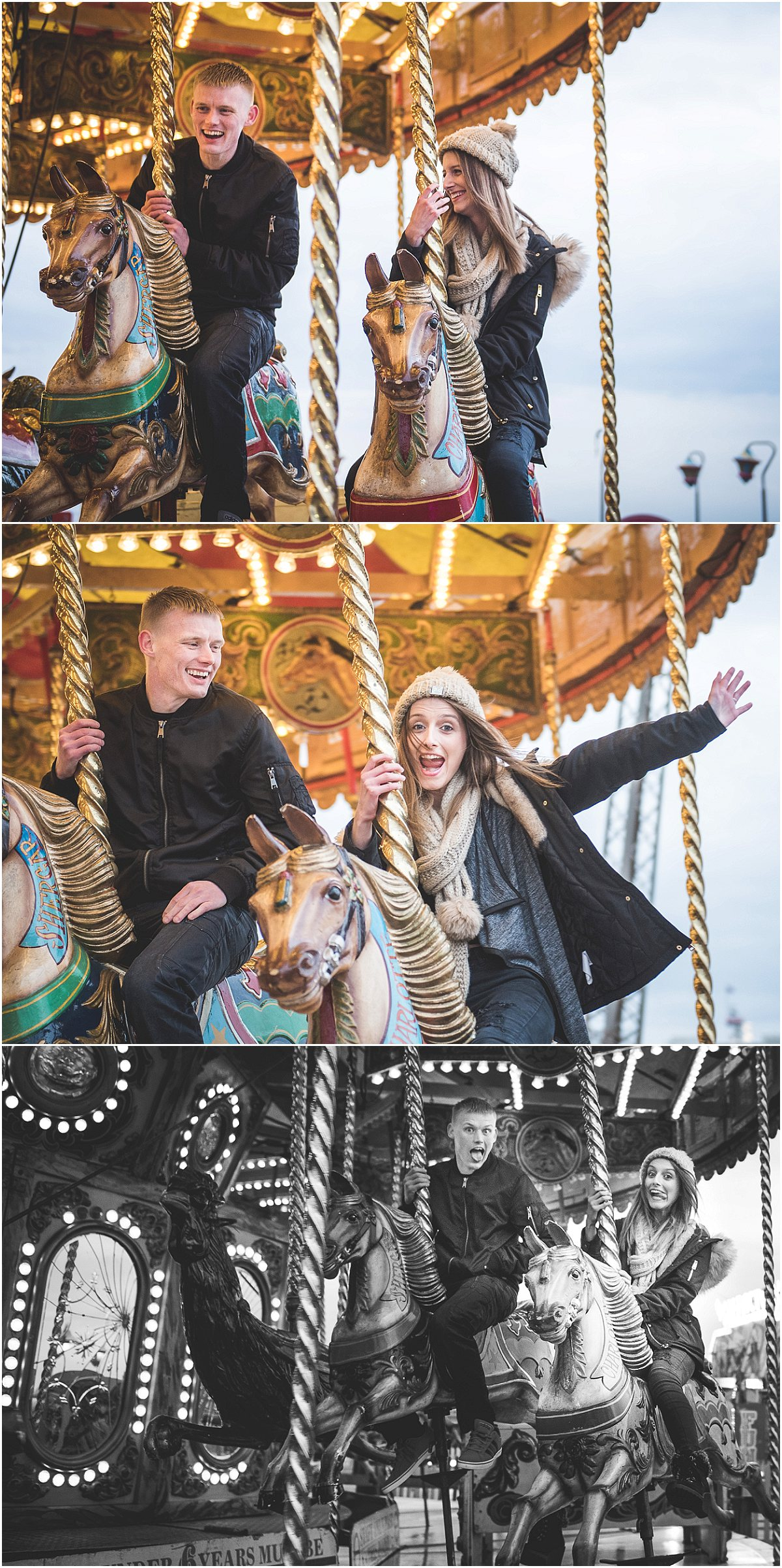 Riding the Carousel at Blackpool South Pier - Pre-Wedding Shoot