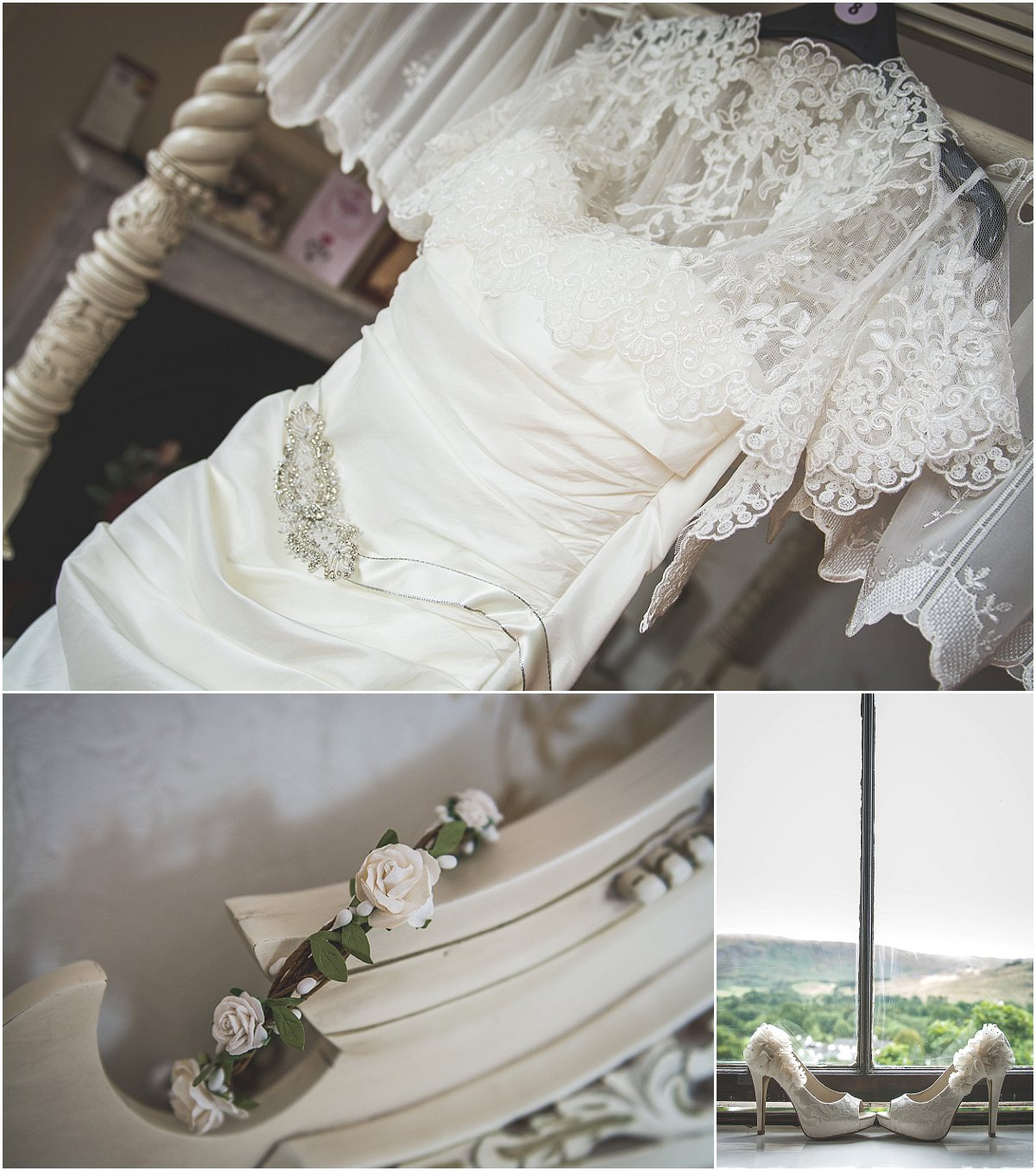 Wedding dress and shoes at Low Wood Hall Hotel, Wast Water Wedding Photography