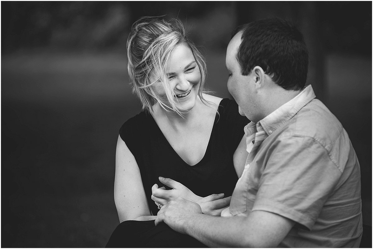 Couple Photoshoot Laughing on a bench | Preston Wedding Photographer