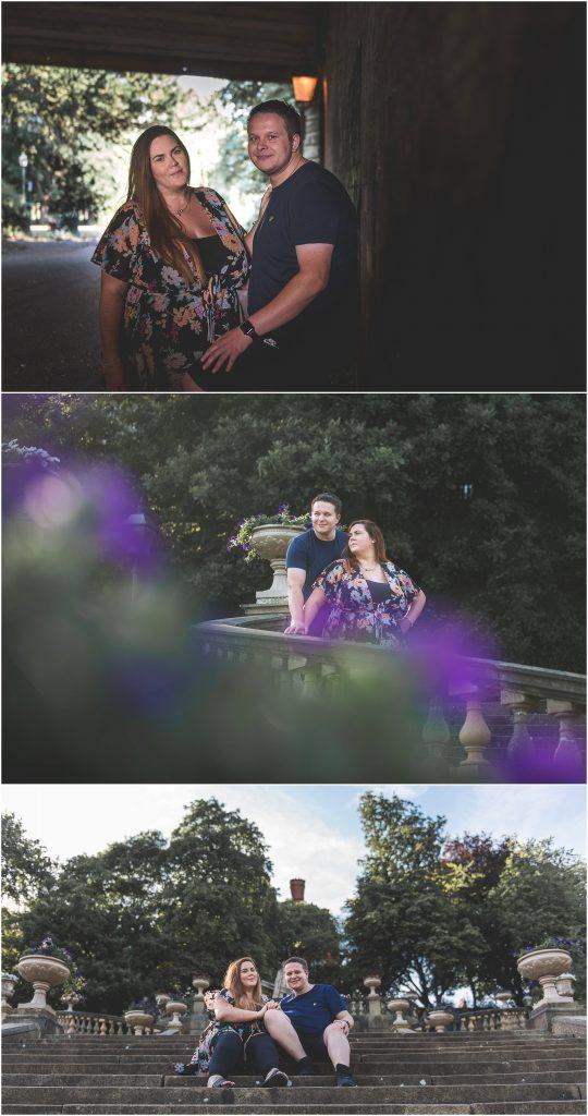 Avenham Park Pre-Wedding Shoot | Couple posing on stairs