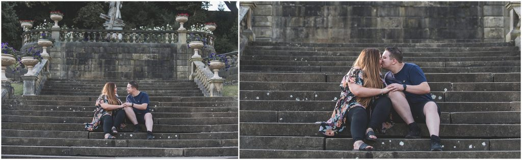 Avenham Park Pre-Wedding Shoot | Couple kissing on the stairs
