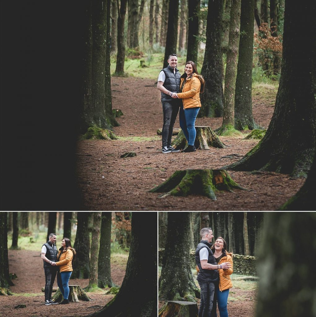 Couple in love holding hands at Beacon Fell