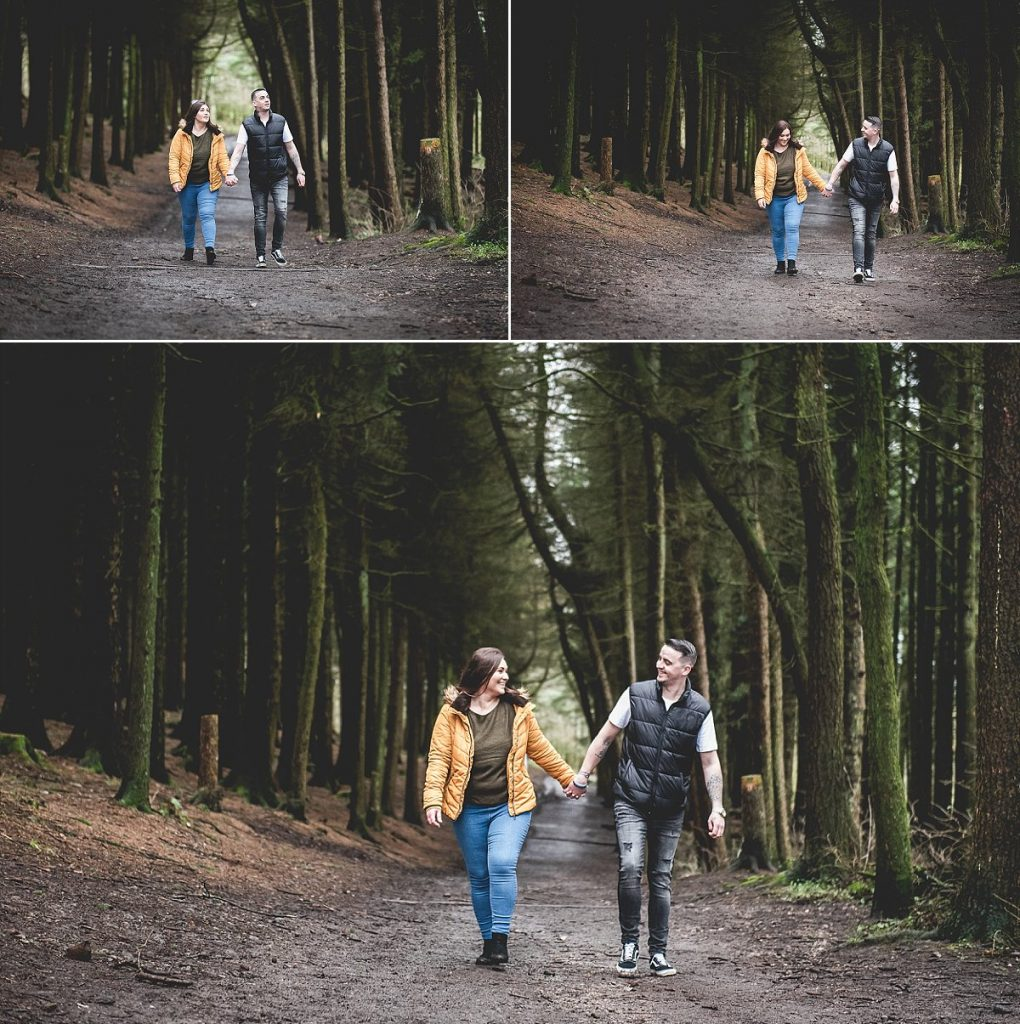Engaged couple walking at Beacon Fell