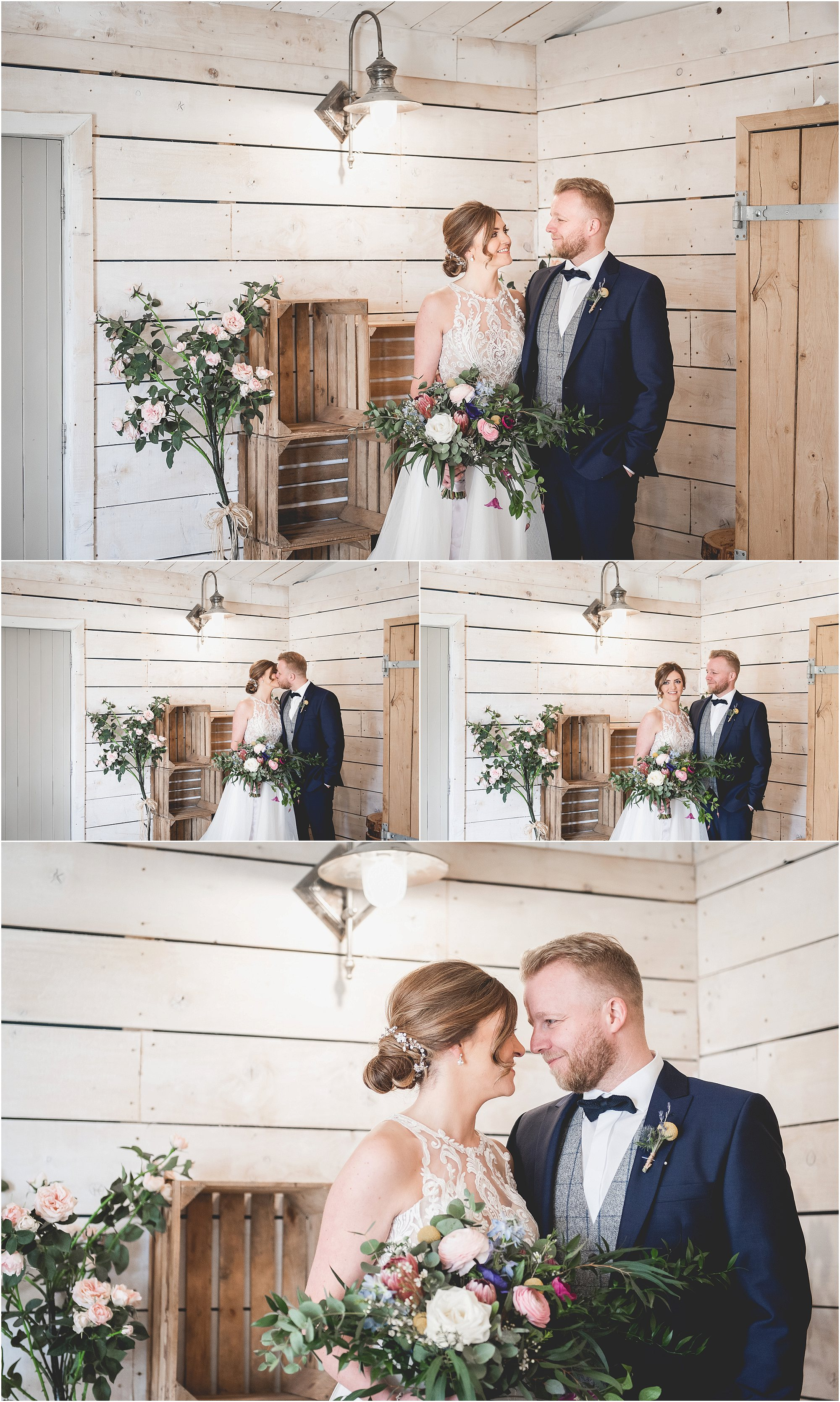 Bride & Groom share a moment after getting married at Bashall Barn