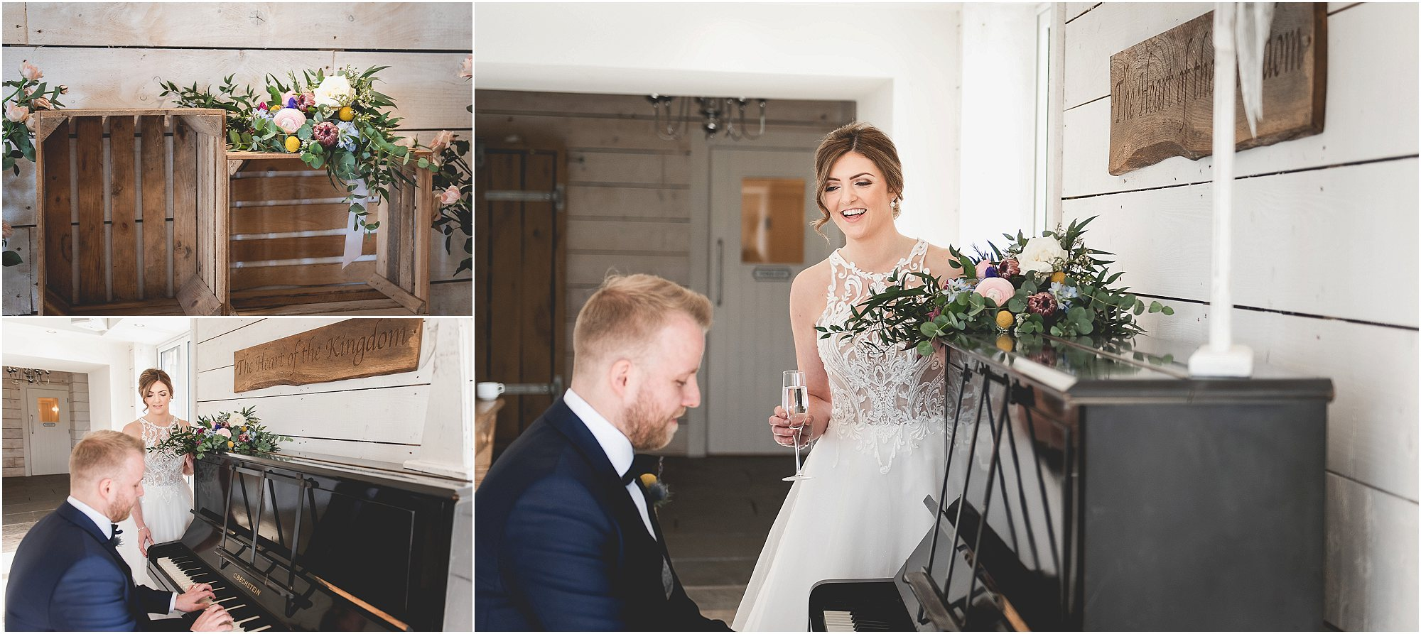 Groom plays the piano to his Bride after getting married at Bashall Barn