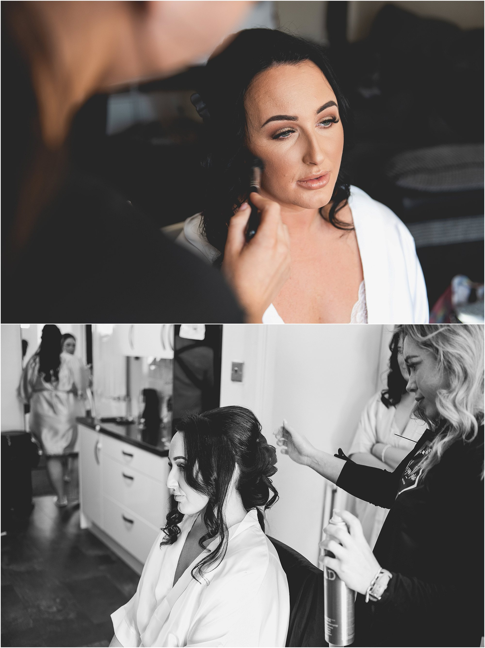 bride getting her hair and makeup done
