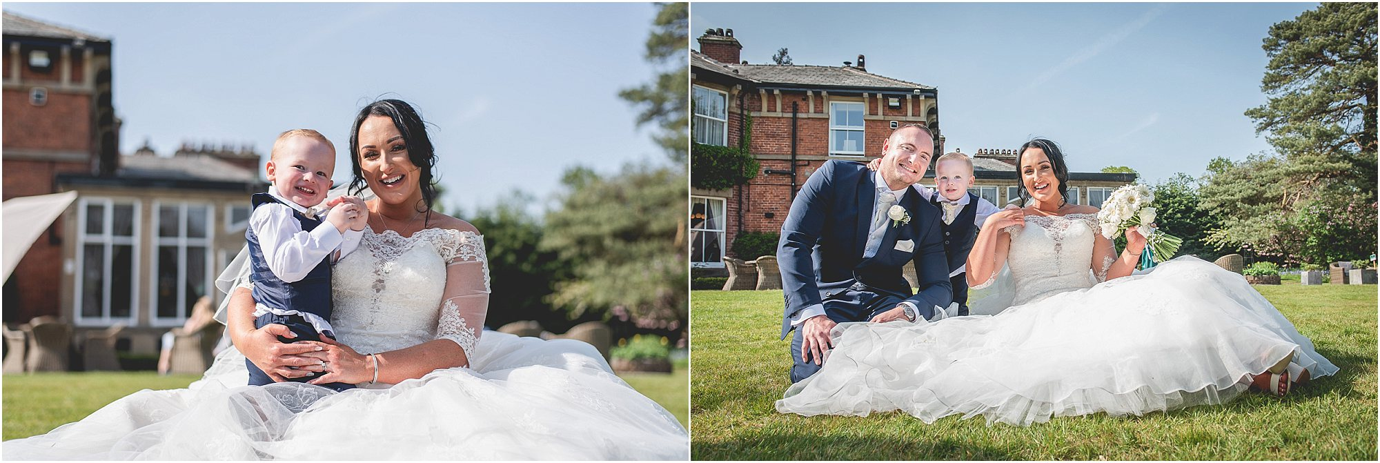 bride and groom pose with their son at bartle hall