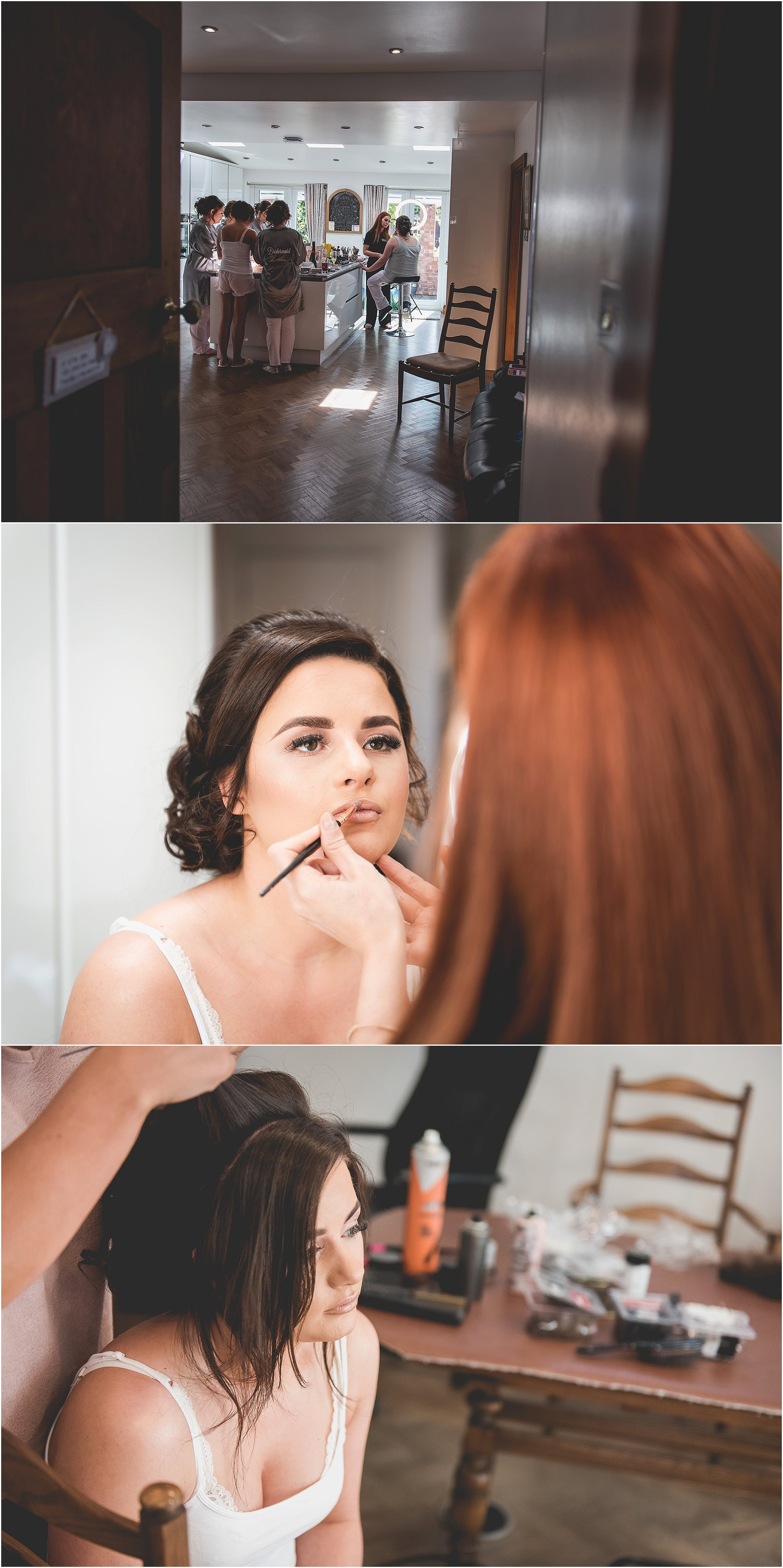 bride getting wedding hair and makup done