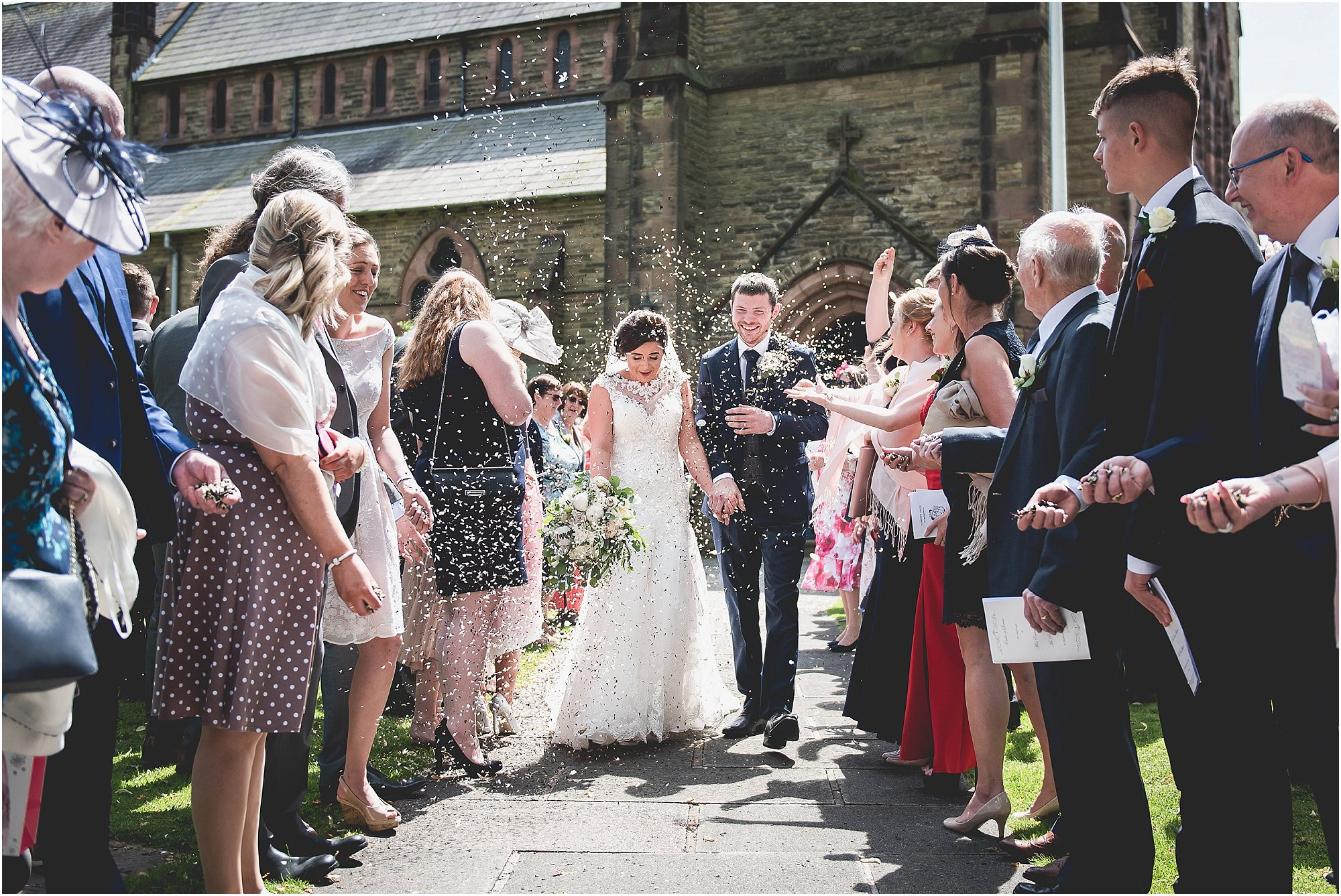 confetti line as couple get married
