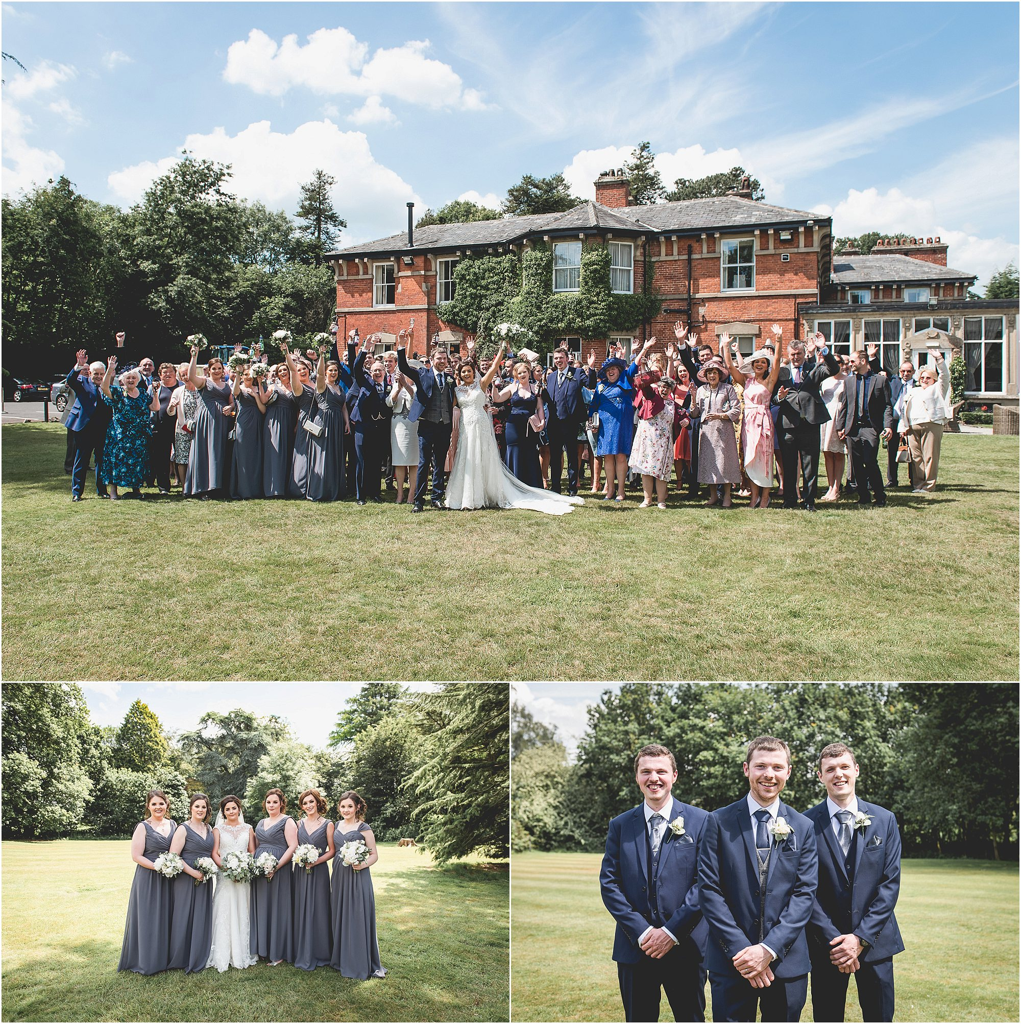 wedding group portraits with guests, bridesmaids & groomsmen