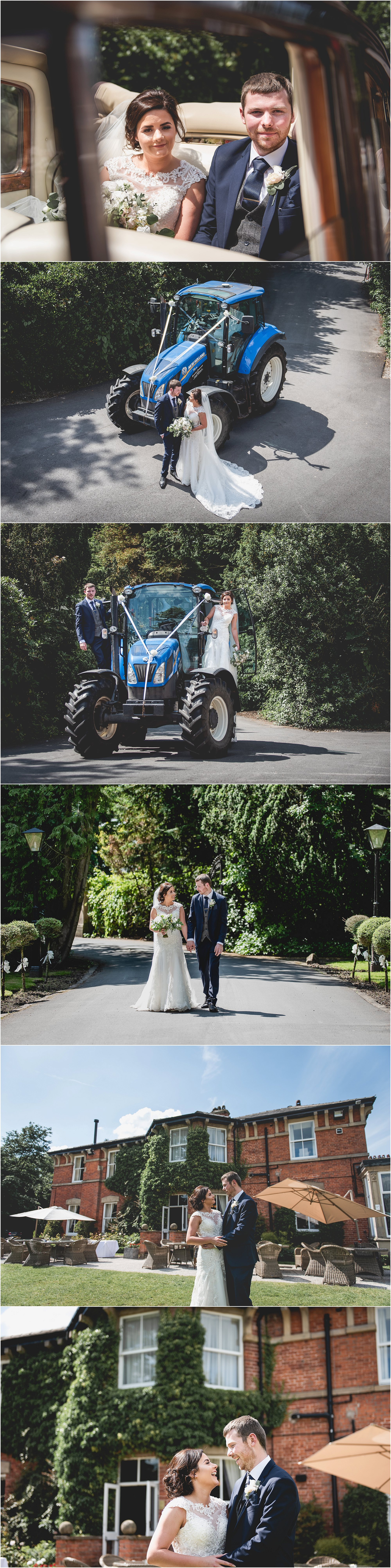 Couple portraits in front of tractor