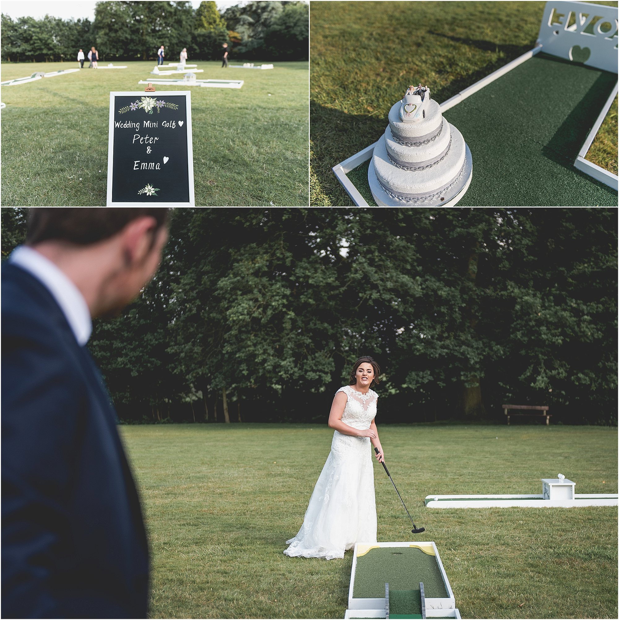 Bride & groom playing mini golf on wedding day